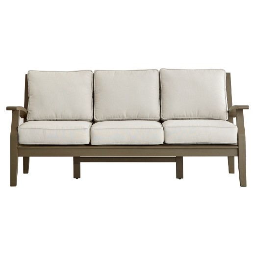 Parkview Wood Patio Sofa With Cushions Gray Inspire Q
