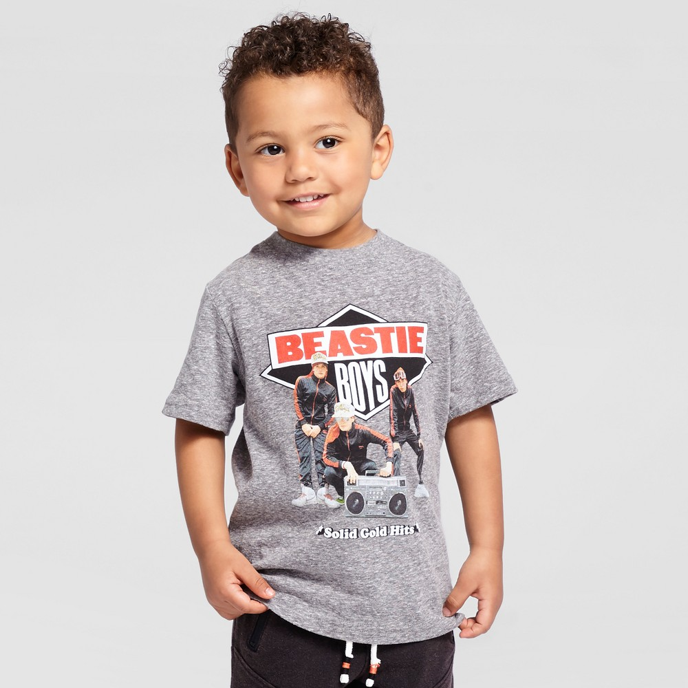 Beastie Boys Toddler Boys Solid Gold Short Sleeve T-Shirt - Charcoal Snow 12M, Size: 12 M, Gray