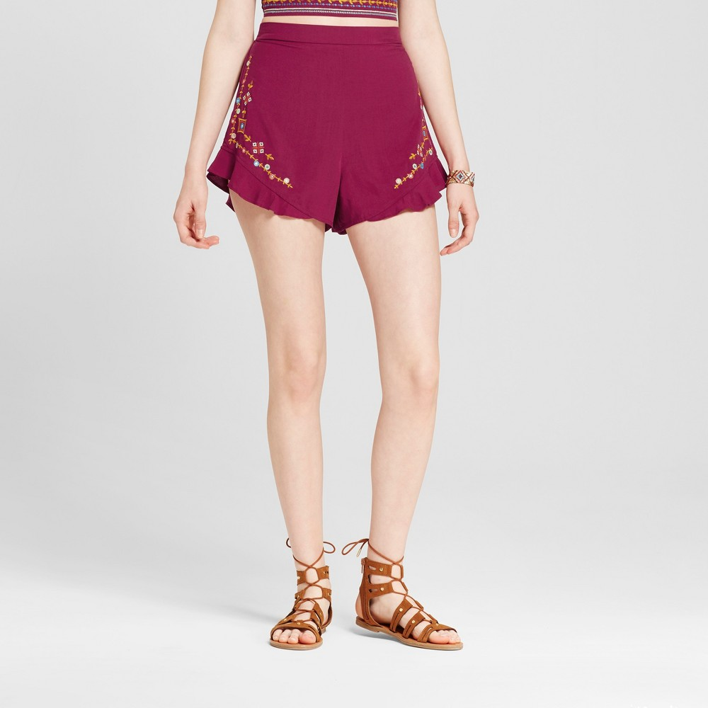Womens Embroidered Shorts - Xhilaration (Juniors) Fuchsia S, Pink