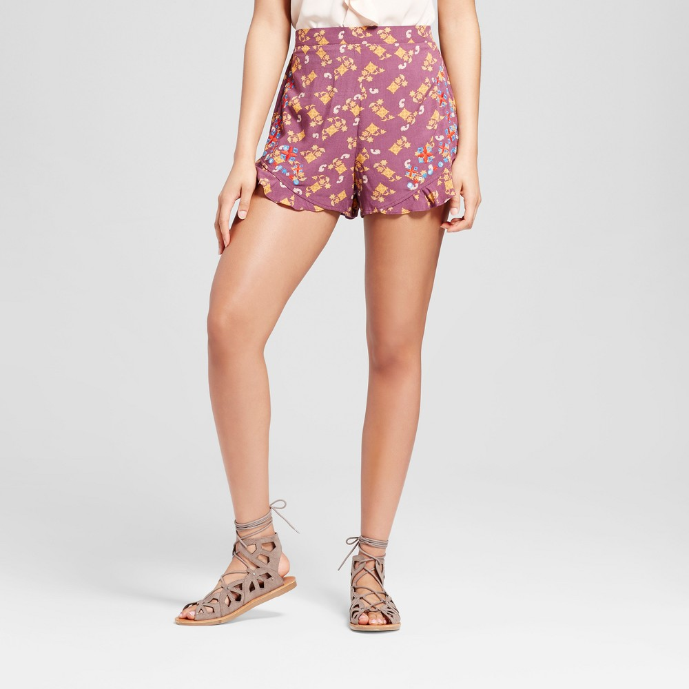 Womens Embroidered Printed Shorts - Xhilaration (Juniors) Purple Xxl