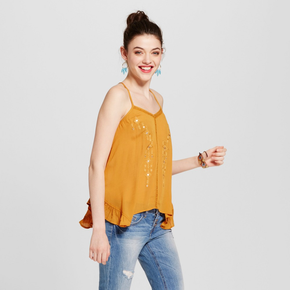 Womens Strappy Embroidered Tank - Xhilaration (Juniors) Gold Xxl