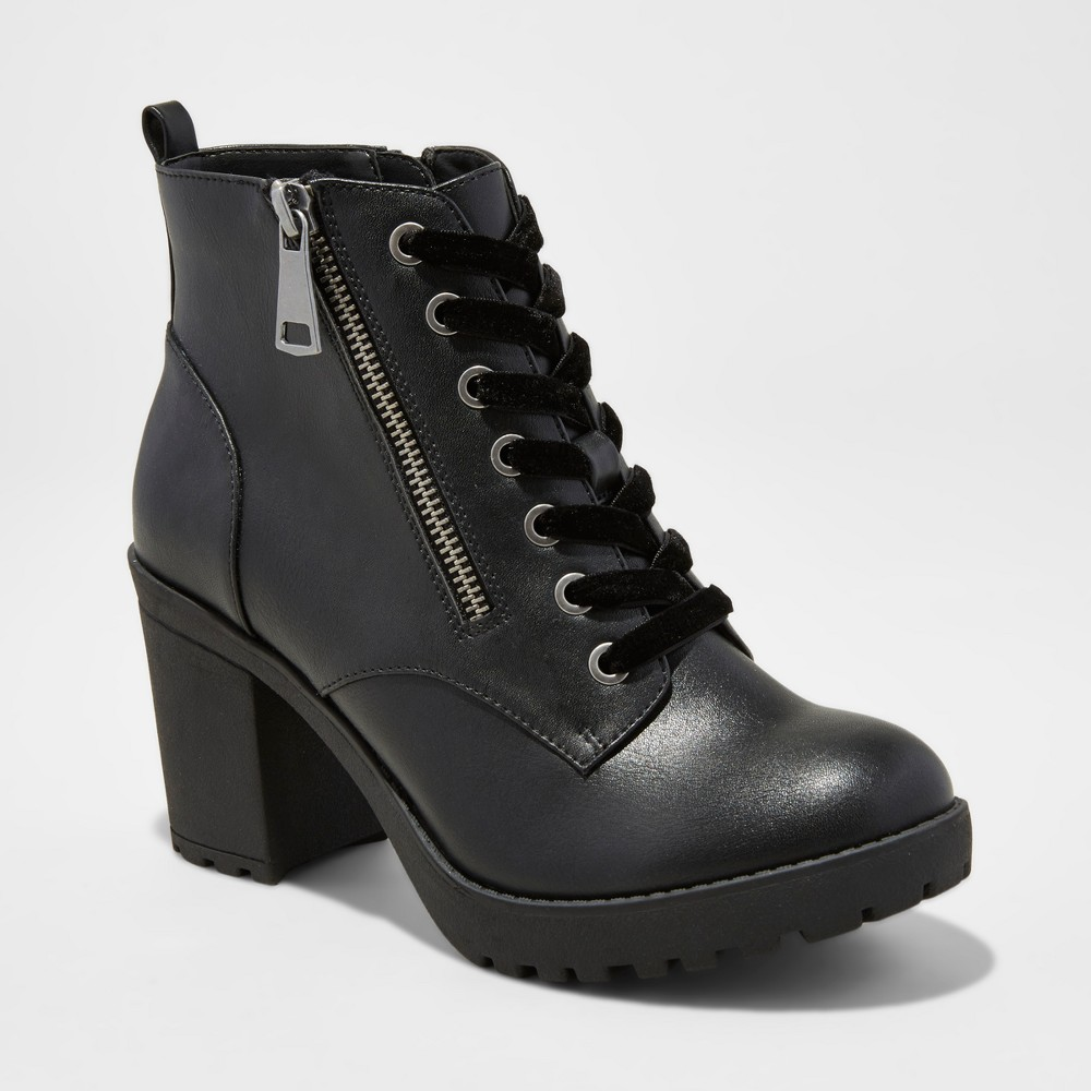 Women's Krissi Lace Up Lug Booties - Mossimo Supply Co. Black 9.5