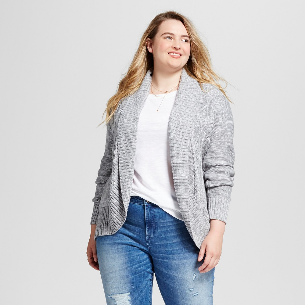 Womens Plus Size Cable Cocoon Open Cardigan - Mossimo Supply Co. Gray 2X