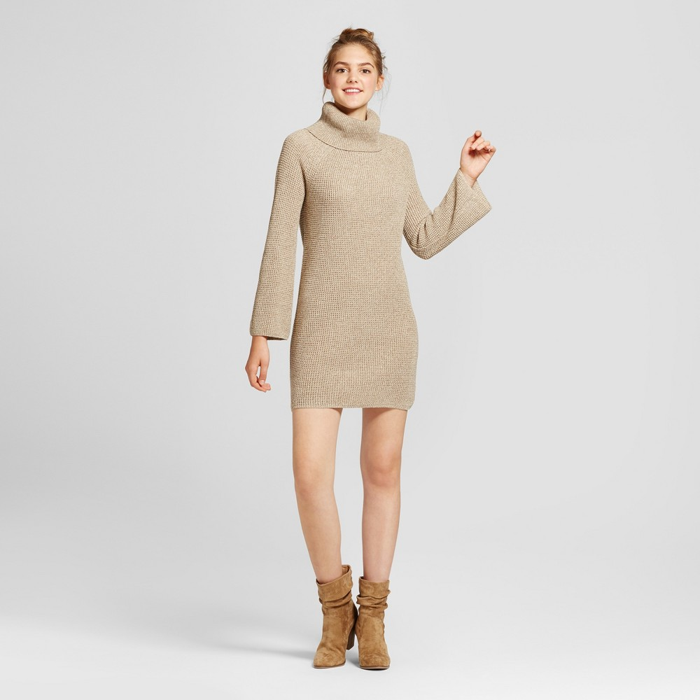 Womens Cowl Neck Sweater Dress - Mossimo Supply Co. Oatmeal S, Beige
