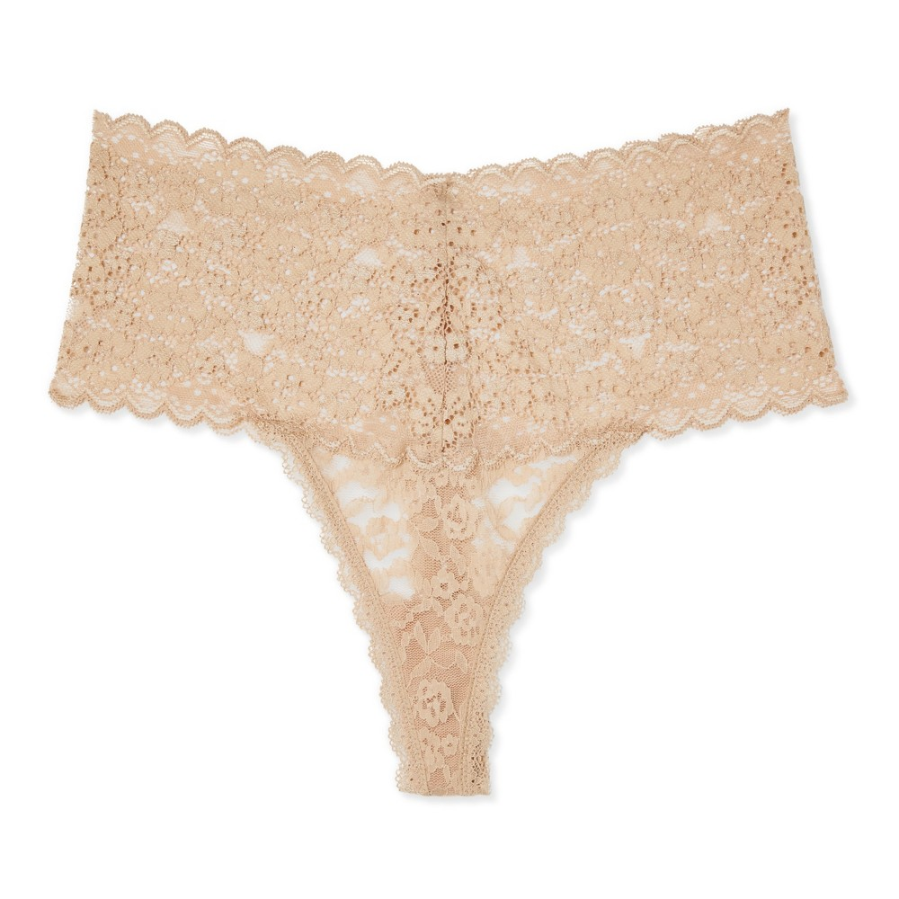 Womens Mid-Rise All Over Lace Thong - Honey Beige S