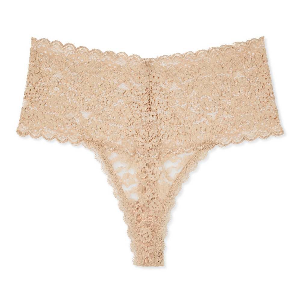 Womens Mid-Rise All Over Lace Thong - Honey Beige XL
