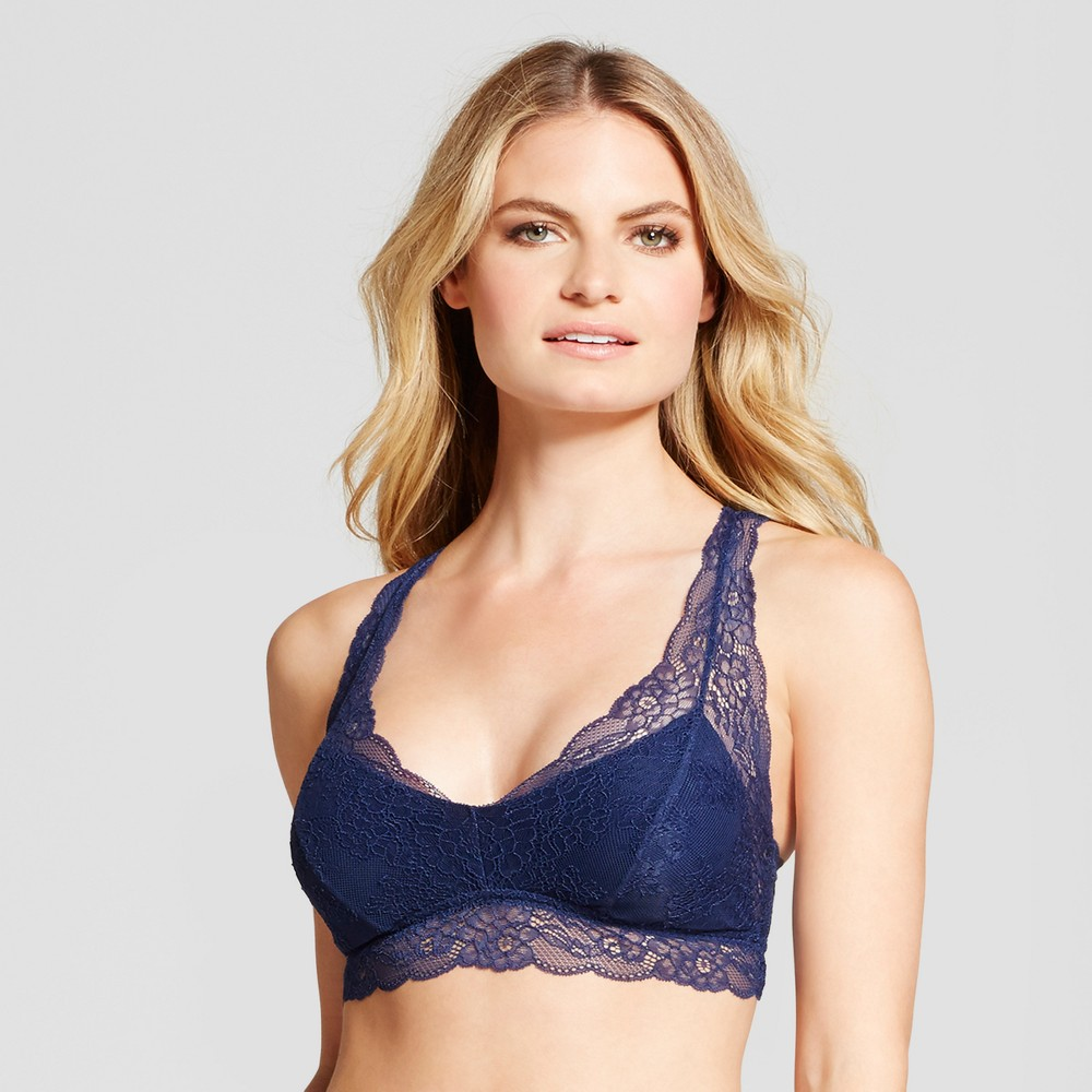 Womens Lace Racerback Bralette Nighttime Blue M