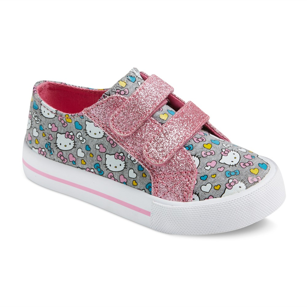 Toddler Girls Hello Kitty Low Top Canvas Sneakers 8 - Gray