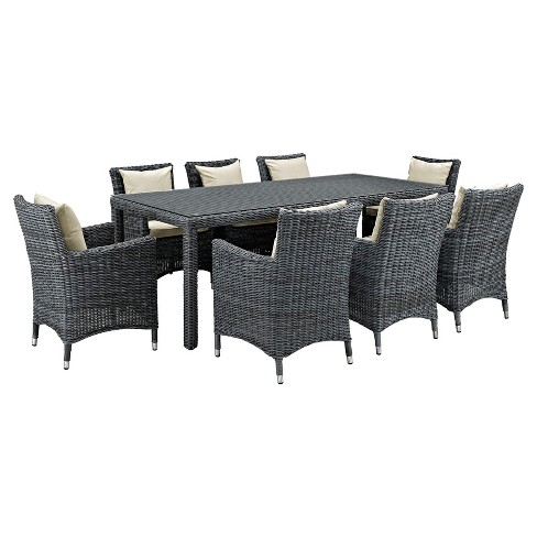 Summon 9pc All Weather Wicker Square Patio Dining Set