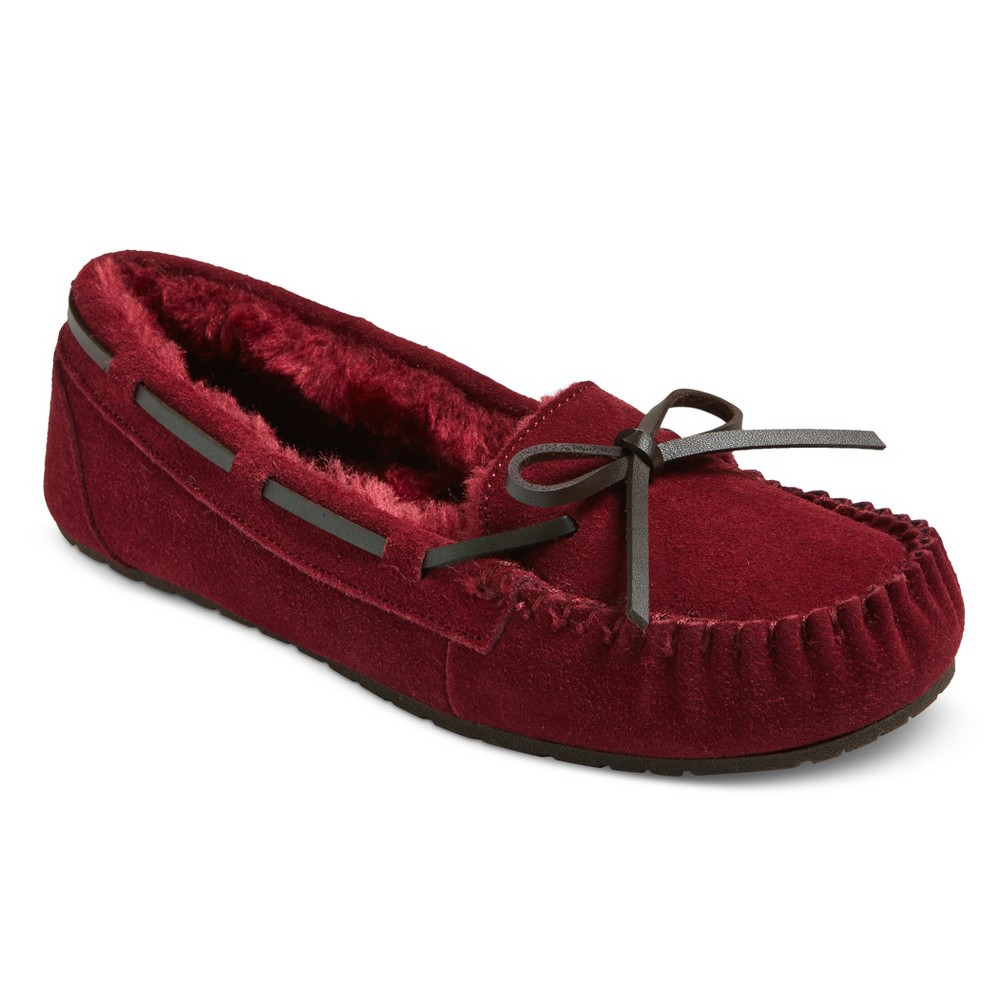 Womens Chaia Suede Moccasin Slippers - Mossimo Supply Co. Burgundy (Red) 6
