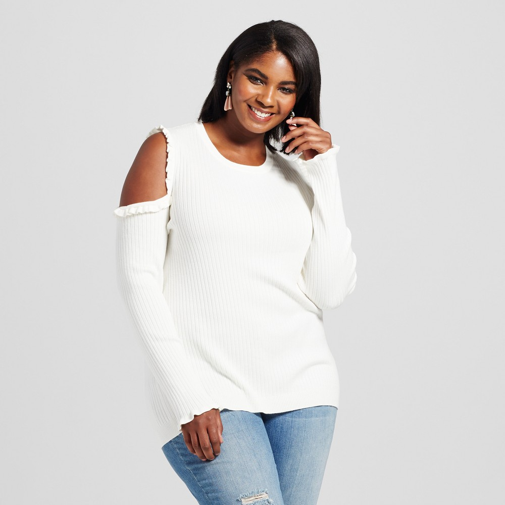 Womens Plus Size Cold Shoulder Sweater with Ruffles - Ava & Viv Cream (Ivory) 3X