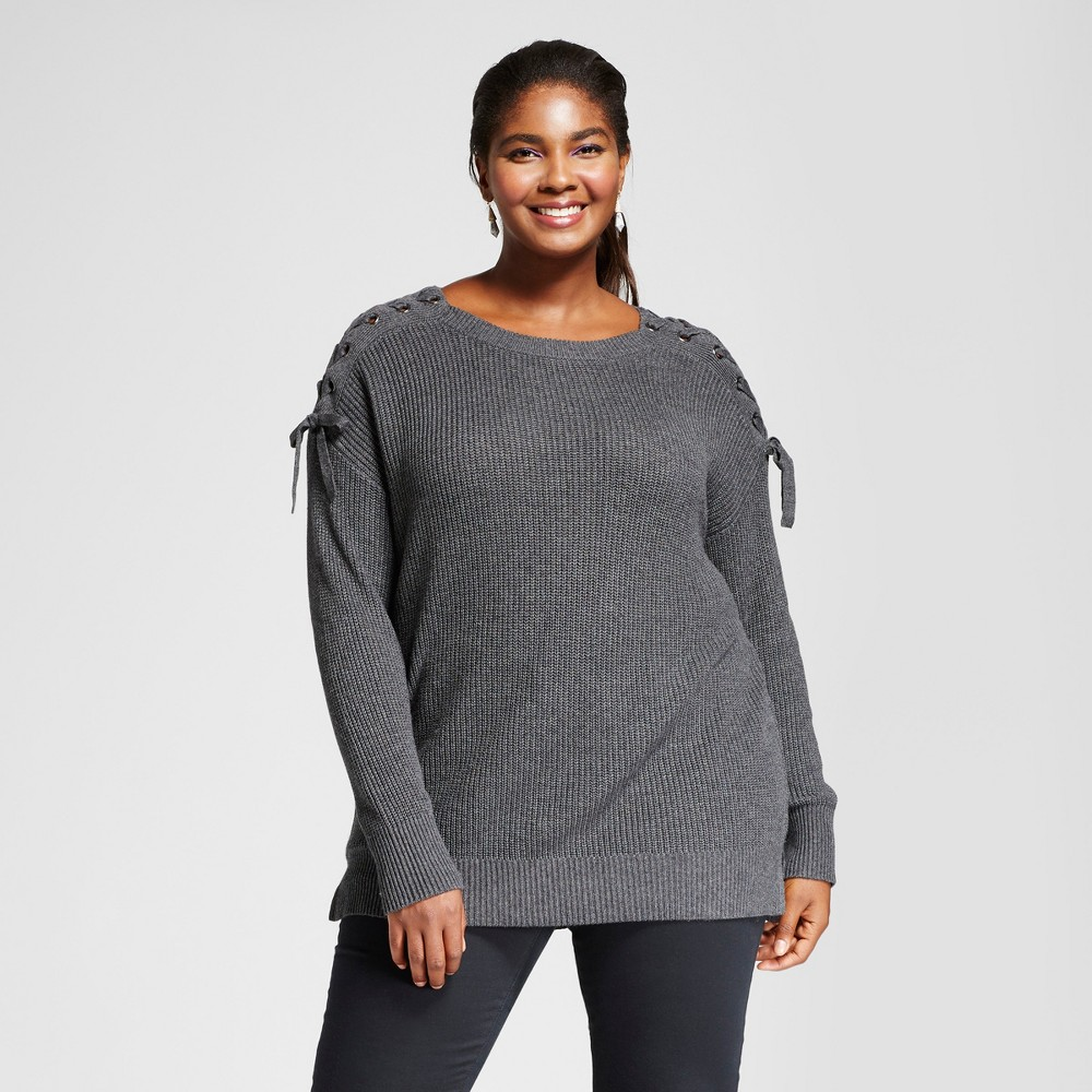 Womens Plus Size Pullover with Shoulder Grommet Detail - Ava & Viv Gray 1X