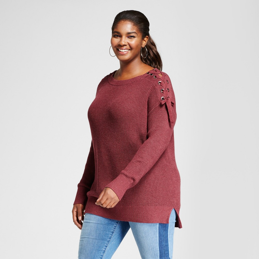 Womens Plus Size Pullover with Shoulder Grommet Detail - Ava & Viv Berry 1X, Red