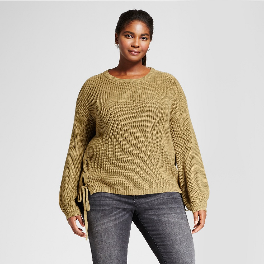 Womens Plus Size Side Lace-Up Sweater - Ava & Viv Olive (Green) 4X