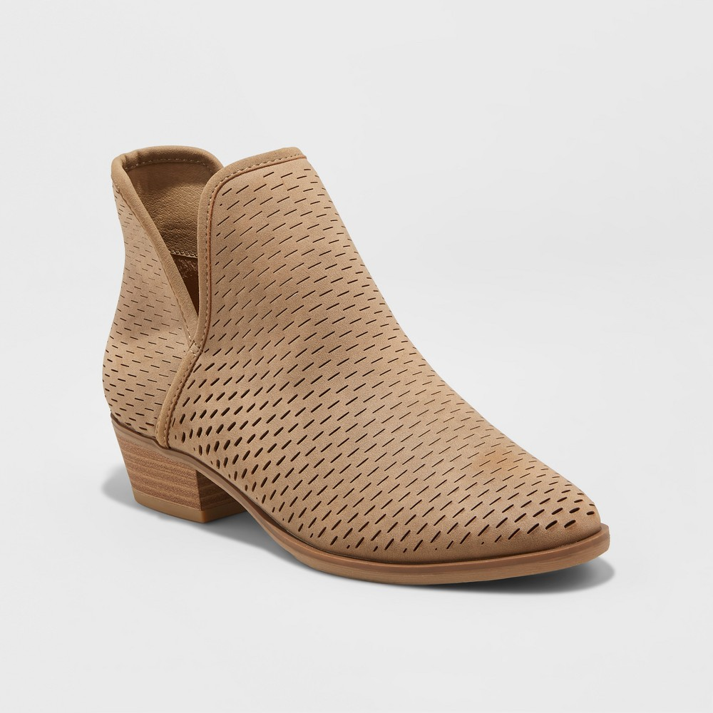 Womens Lucile Laser Cut Out Booties - Merona Taupe Brown 9.5