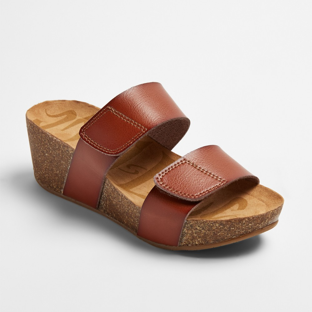 Womens Mad Love Jillian Footbed Sandals - Cognac (Red) 7