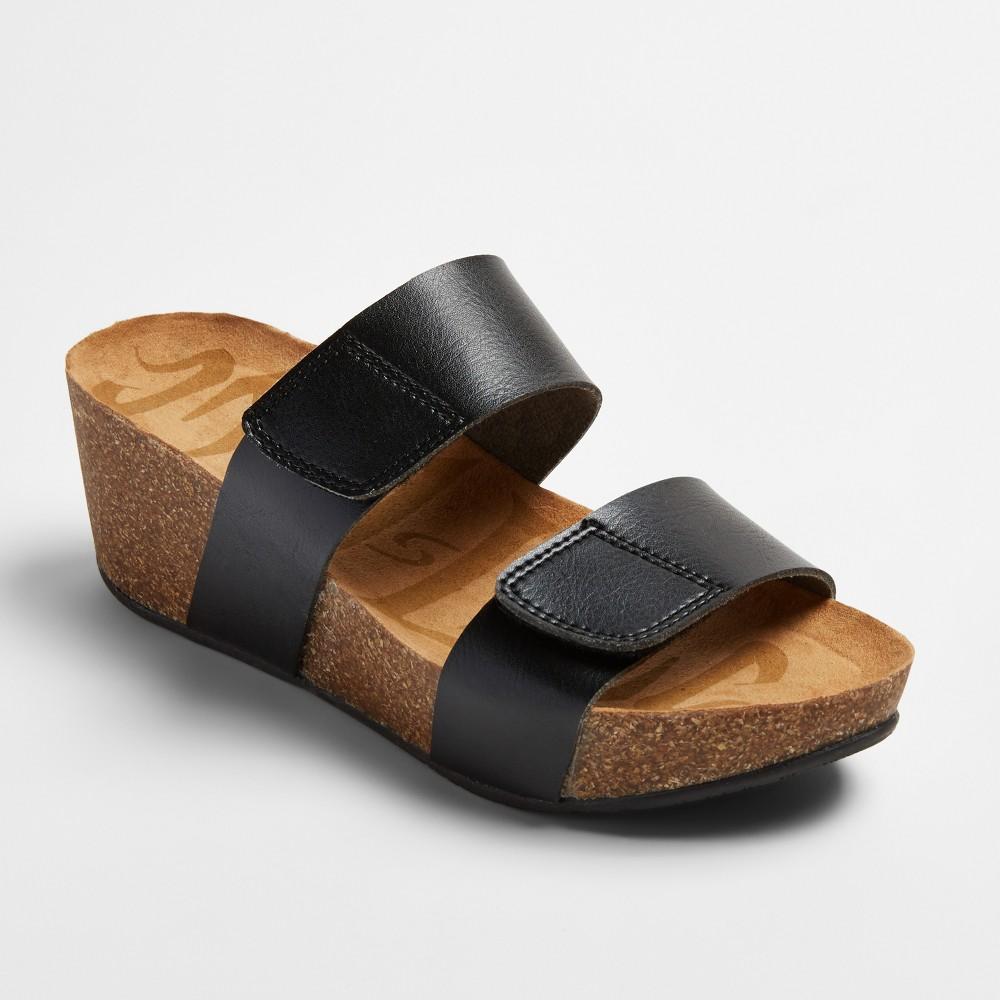 Womens Mad Love Jillian Footbed Sandals - Black 6