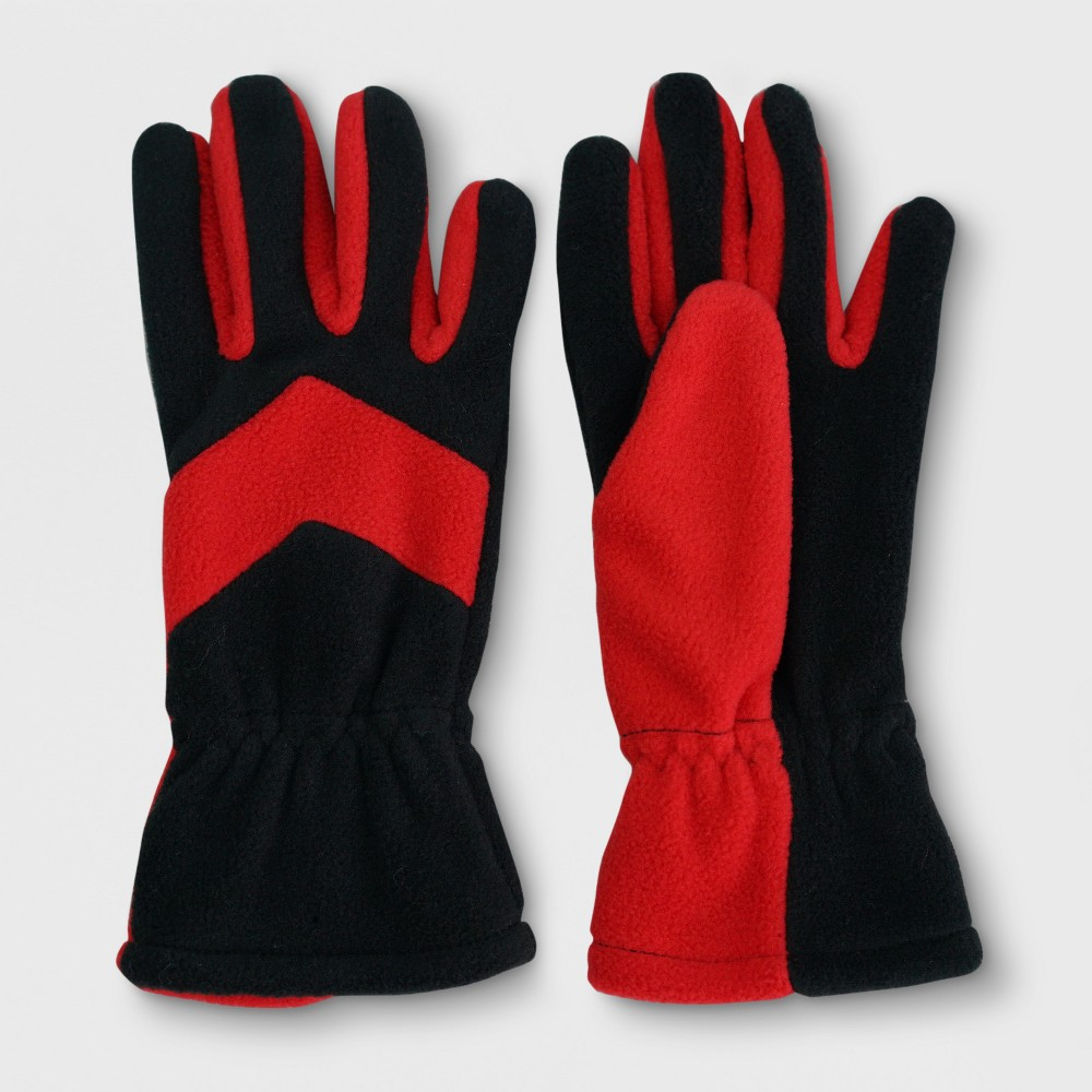 Boys Colorblock Fleece Gloves - Cat & Jack Black/Red 4-7