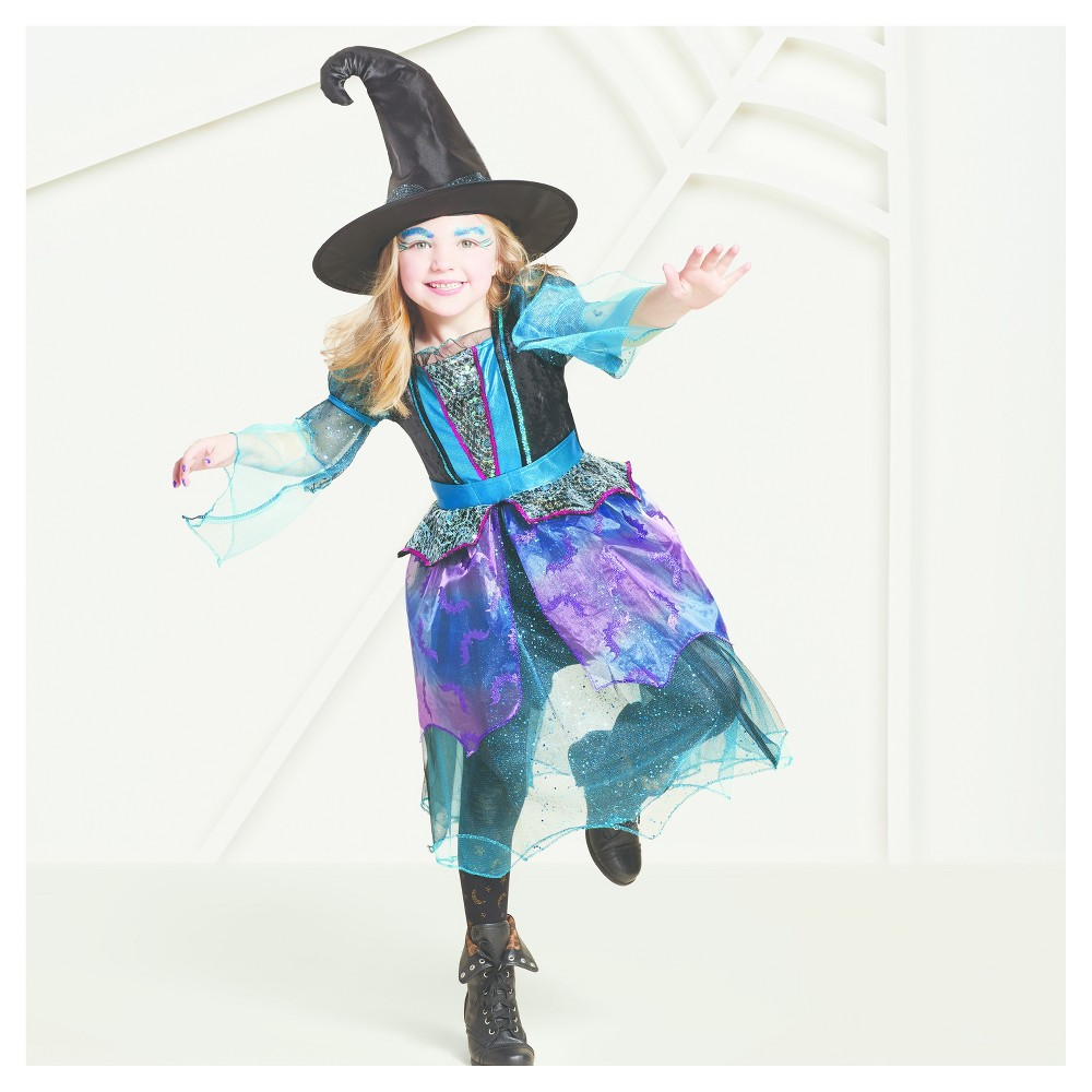 Girls Deluxe Mystery Witch Costume - M (7-8) - Hyde and Eek! Boutique, Black Blue Purple