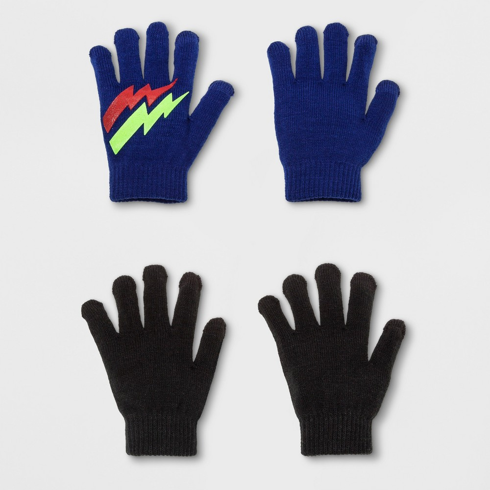 Boys 2 Pack Flash & Solid Print Gloves With 2 Fingers Tech Touch - Cat & Jack Blue One Size
