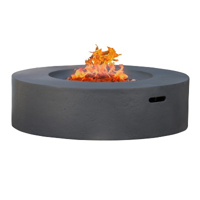 Aidan 39.25   Magnesium Oxide Gas Fire Pit Table With Tank Holder Circular - Dark Gray - Christopher Knight Home