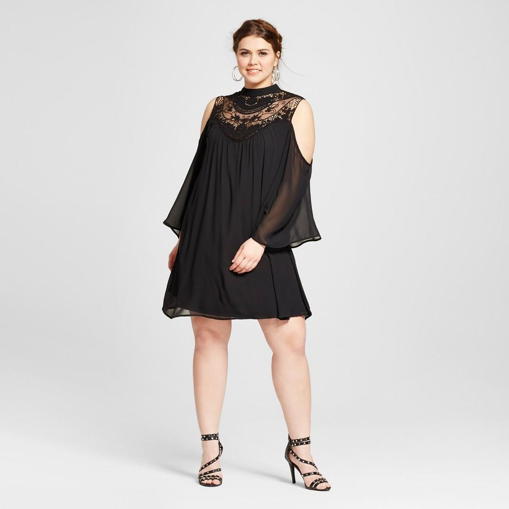Womens Plus Size Cold Shoulder Shift Dress Black 1X - 3Hearts (Juniors)