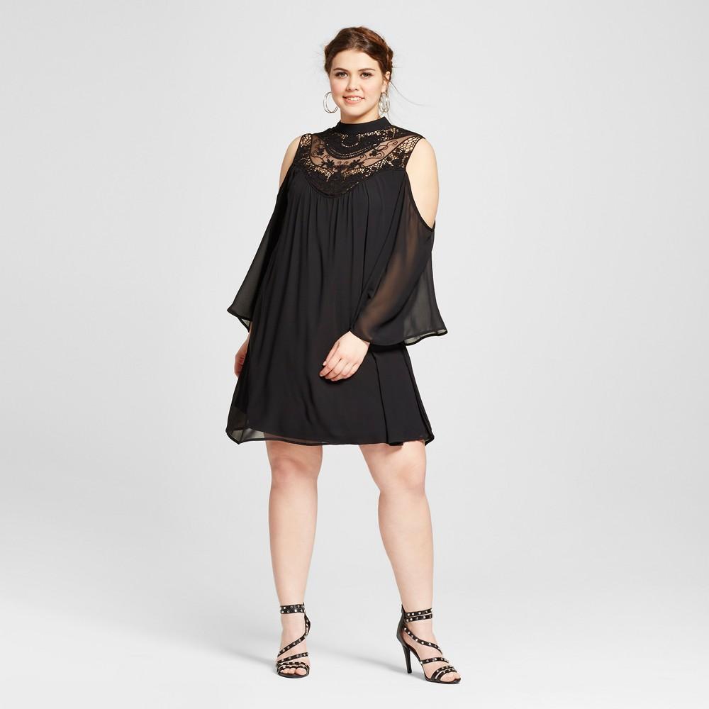 Womens Plus Size Cold Shoulder Shift Dress Black 2X - 3Hearts (Juniors)