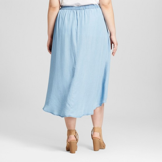 s plus size chambray wrap skirt light blue 3hearts
