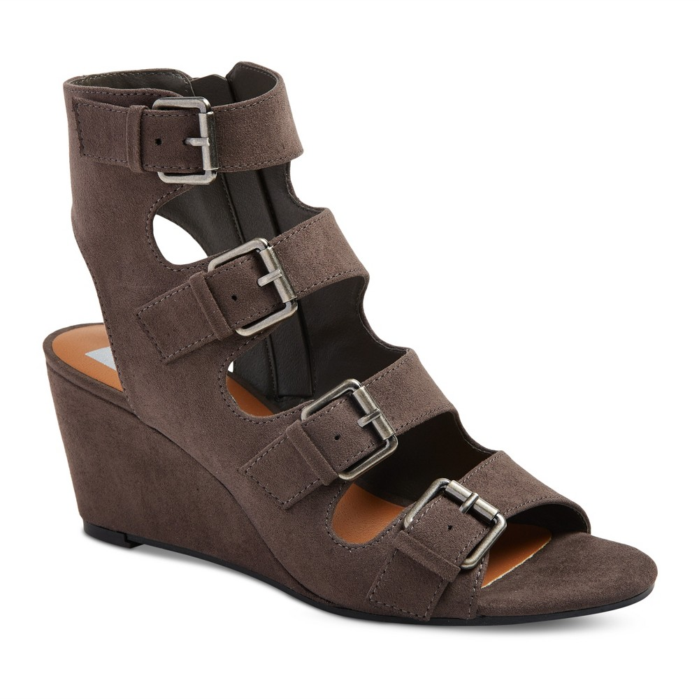 Womens dv Leeann Buckle Wedge Gladiator Sandals - Gray 6