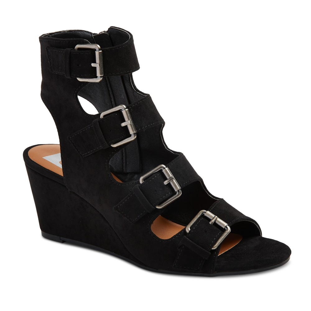 Womens dv Leeann Buckle Wedge Gladiator Sandals - Black 5.5