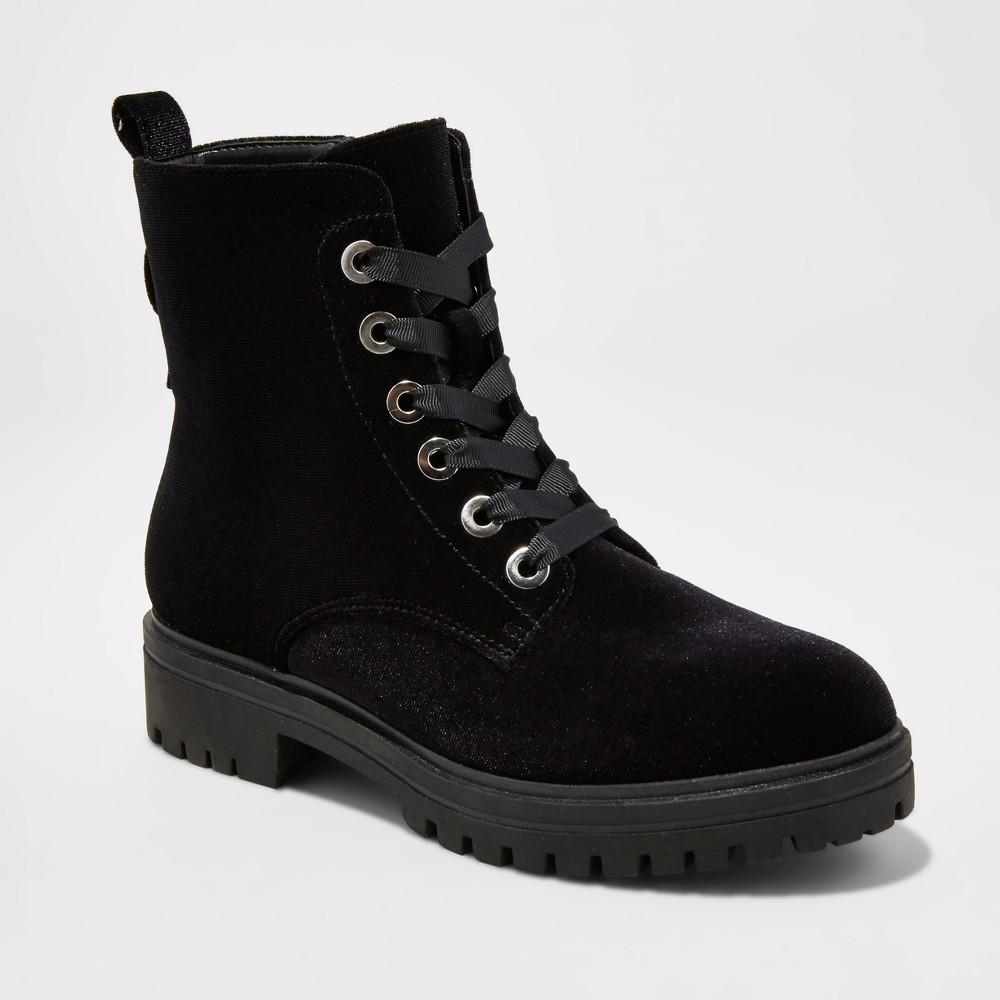 Womens Rihanna Velvet Combat Boots - Mossimo Supply Co. Black 7.5