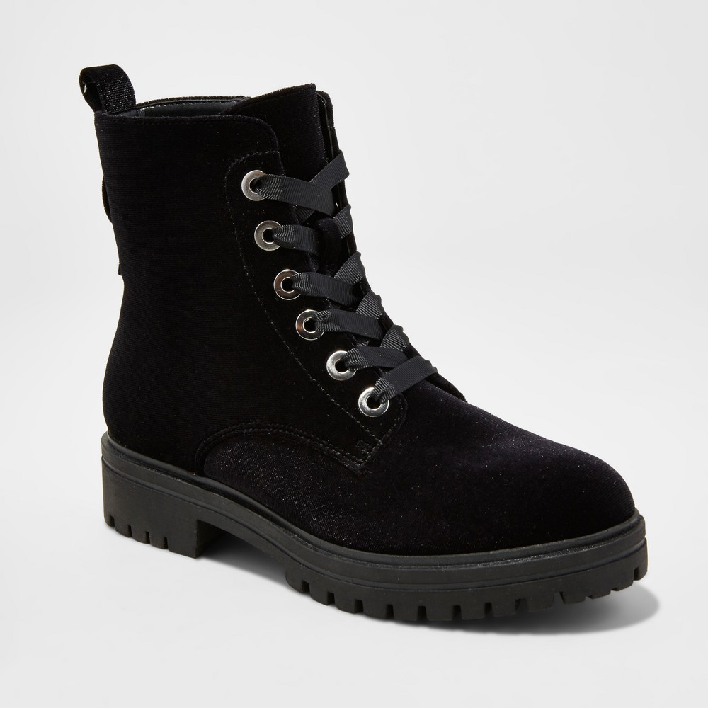 Womens Rihanna Velvet Combat Boots - Mossimo Supply Co. Black 8