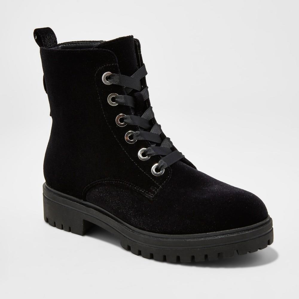 Womens Rihanna Velvet Combat Boots - Mossimo Supply Co. Black 6