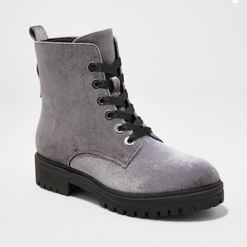 Womens Rihanna Velvet Combat Boots - Mossimo Supply Co. Gray 8.5