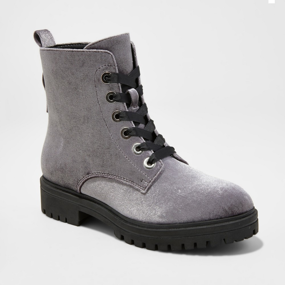 Womens Rihanna Velvet Combat Boots - Mossimo Supply Co. Gray 6