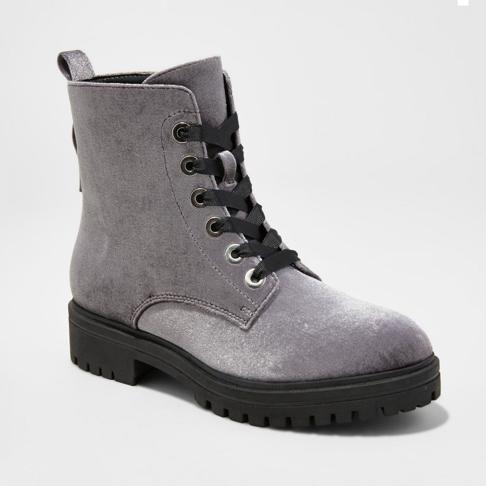Womens Rihanna Velvet Combat Boots - Mossimo Supply Co. Gray 6.5