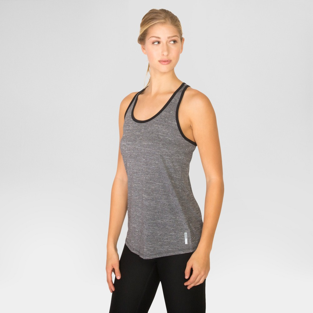 Women's Striated Racerback Tank Top with Keyhole – Black L – Rbx
