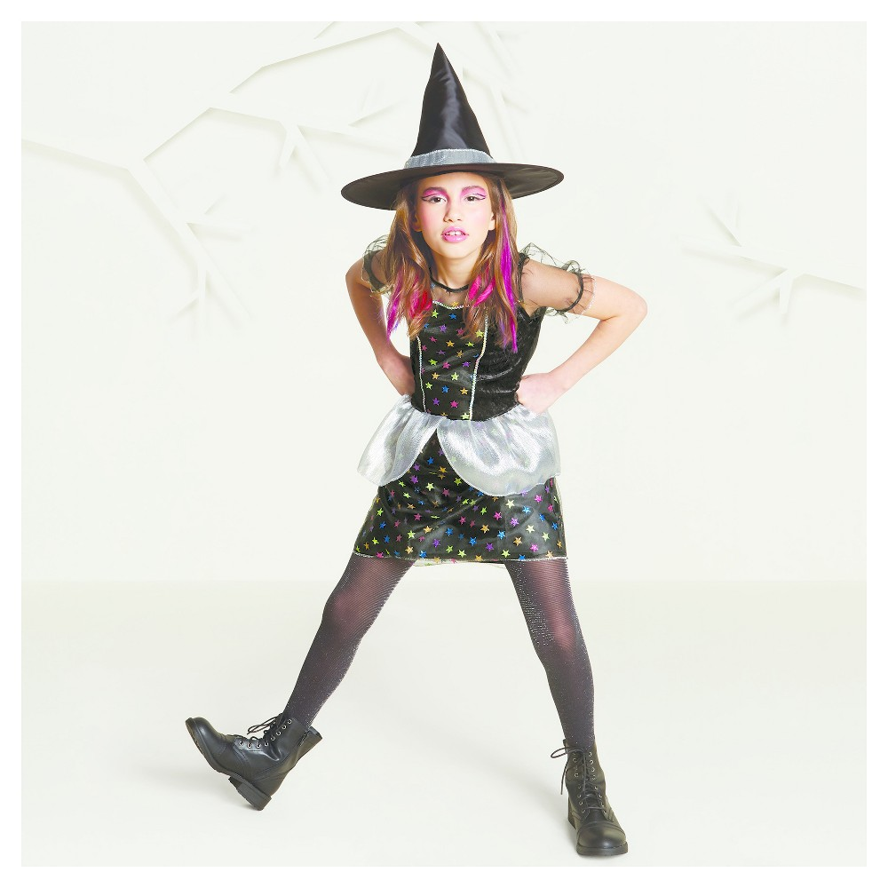 Girls Basic Star Witch Costume - M (7-8) - Hyde and Eek! Boutique, Black Silver