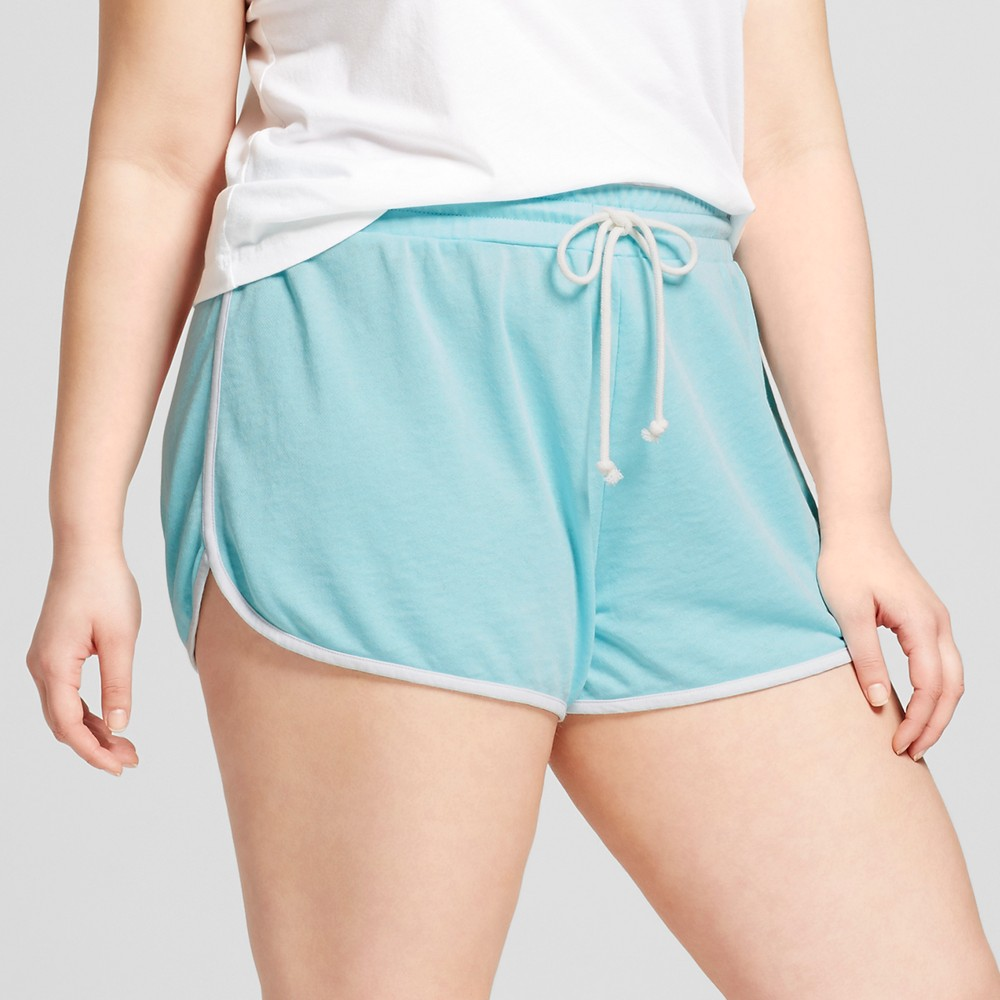 Womens Plus Size Pajama Shorts - Grayson Threads (Juniors) Scrub Turquoise 3X, Blue