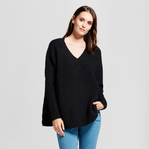 Women's V-Neck Pullover Sweater - Mossimo™ Black : Target