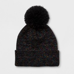 Girls' Lurex Cuffed Pom Beanie - Cat & Jack™ Black One Size
