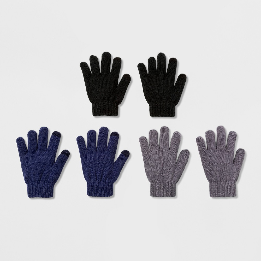 Boys 3 Pack Solid Gloves With 2 Finger Tech Touch - Cat & Jack Multi-Colored One Size