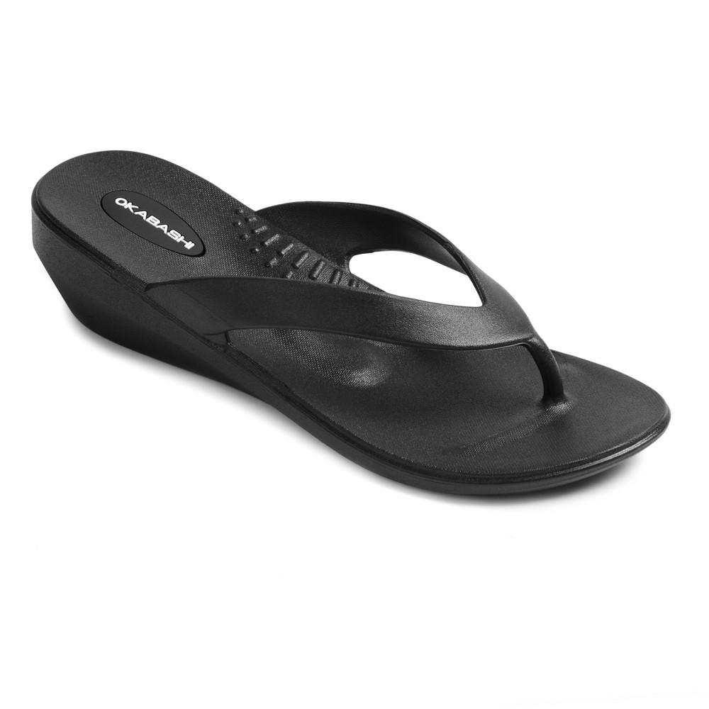 Womens Okabashi Lakeside Wedge Flip Flop Sandals - Black L (9.5-10.5)