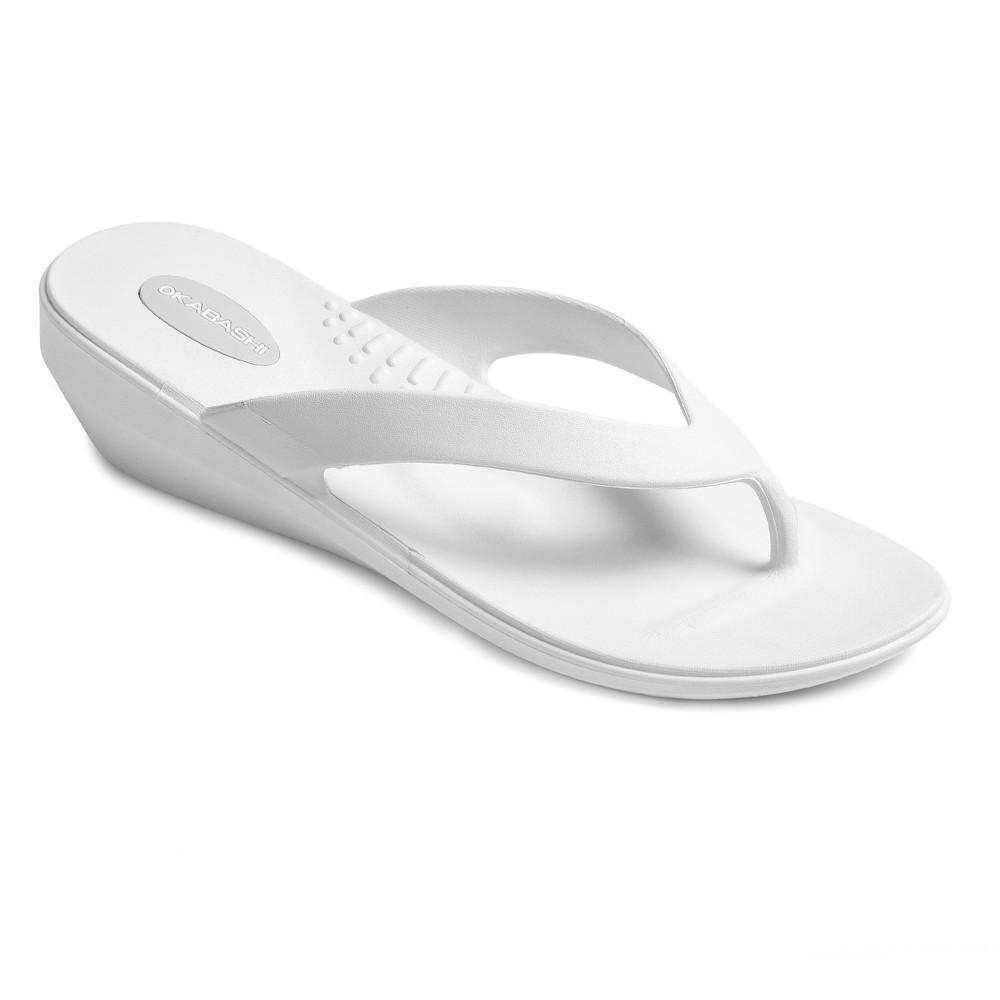 Womens Okabashi Lakeside Wedge Flip Flop Sandals - White M/L (8-9)