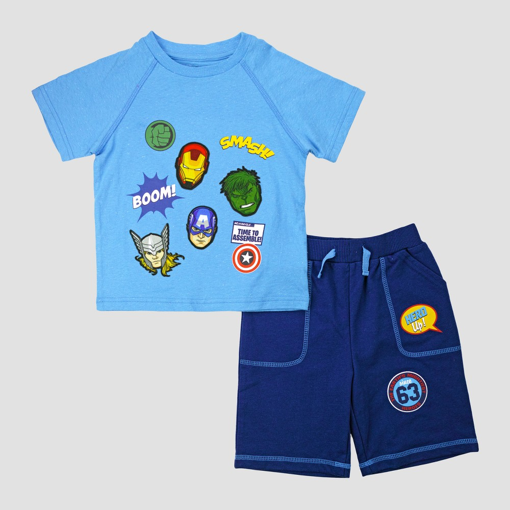 Toddler Boys Disney Avengers Top And Bottom Sets Blue 2T