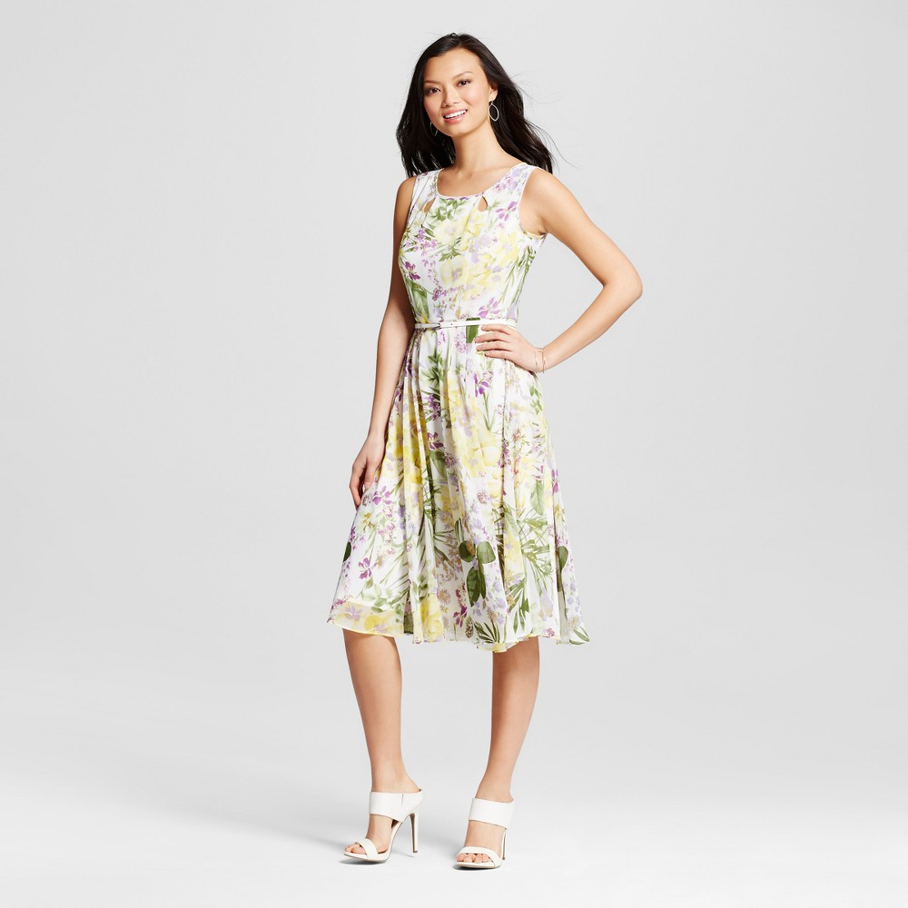 Women's Floral Printed Chiffon Dress with Belt – Ivory/Yellow 10 – Melonie T, White