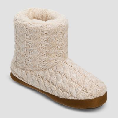 Women's dluxe by dearfoams® Calandra Cable Knit Bootie Slippers - Oatmeal Heather M (7-8)