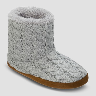 Women's dluxe by dearfoams® Calandra Cable Knit Bootie Slippers - Gray M (7-8)