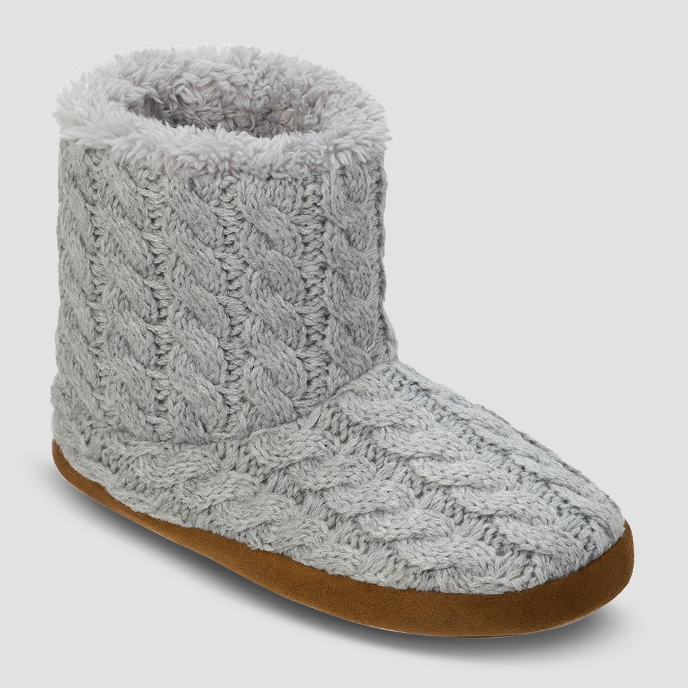 Womens dluxe by dearfoams Calandra Cable Knit Bootie Slippers - Gray M (7-8)