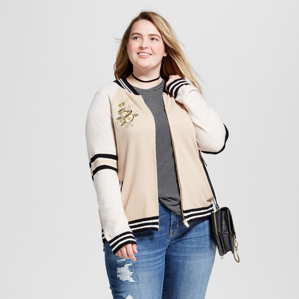 Womens Plus Size Varsity Bomber - Mossimo Supply Co. Blush 2X, Pink